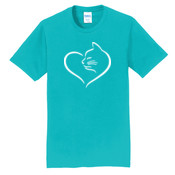 Cat Heart Adult T-shirt