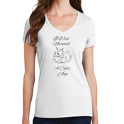 I Was Normal 4 Cats Ago Ladies V-neck T-shirt