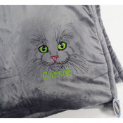Embroidered Cat Fleece Blanket with Name
