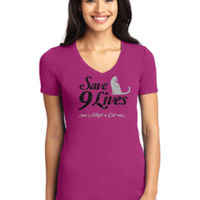Glitter Save 9 Lives V-neck Ladies T-shirt Thumbnail