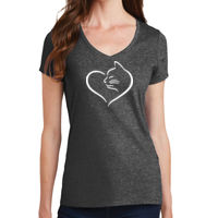 Cat Heart Ladies V-neck T-shirt Thumbnail