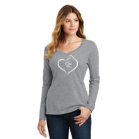 Cat Heart Ladies Long Sleeve T-shirt Thumbnail